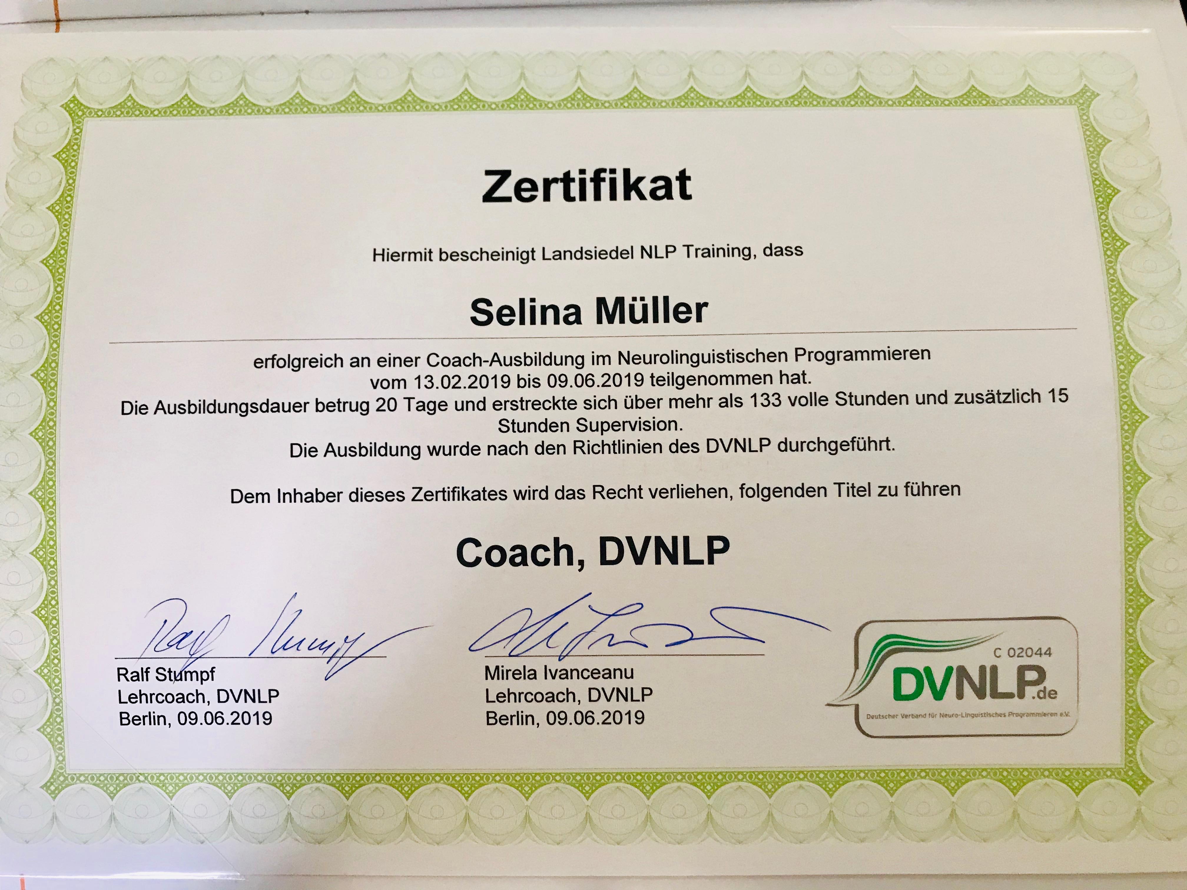 DVNLP Coach – Certification